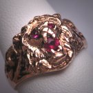 Rare Antique Art Nouveau Lion Ring Ruby Rose Gold c.1890 Wedding Band