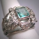 Antique Emerald Diamond Ring Palladium Vintage Art Deco Wedding 1930
