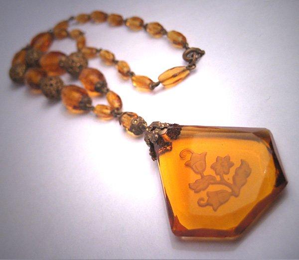 Antique Amber Czech Necklace Vintage Victorian Art Deco 1920 Crystal