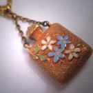 Antique 18K Gold Enameled Bottle Charm Necklace Vintage Victorian 19th Century Pendant
