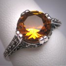 Estate Golden Citrine Ring Wedding Vintage Art Deco Floral Filigree Style