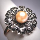 Rare Antique Victorian Pearl Rose Diamond Wedding Ring c.1900 Engagement Rose Gold