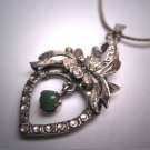 Antique Green Jade Necklace Art Deco Filigree Vintage 1930
