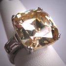 Vintage Lab Large Canary Diamond Wedding Ring Engagement Retro Art Deco Style 50's