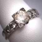Antique White Sapphire Wedding Ring Vintage Art Deco 1930
