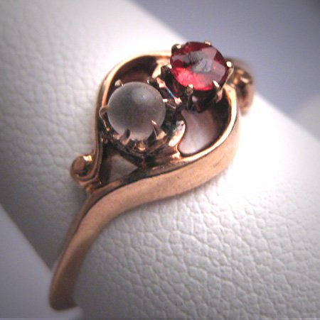 Antique Moonstone Ruby Ring Victorian Rose Gold Wedding 1880