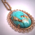 Antique Turquoise Necklace Art Deco Filigree Vintage Gold 1930