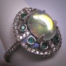 Vintage Moonstone Emearld Ring Retro Art Deco Wedding