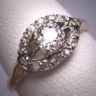Antique Wedding Ring Old Euro Diamond Vintage Art Deco 18K White Gold .50ct c.1920