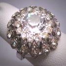 Antique White Sapphire French Paste Ring Vintage Art Deco Era 1930 Wedding