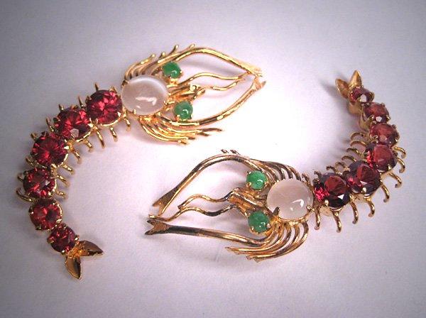 Fantastic Vintage Mid Century Moonstone Jade Garnet Duette Pins Shrimp Brooches Pair 1950
