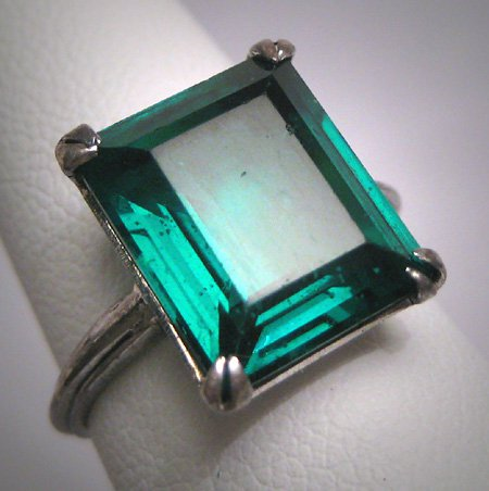 Antique Emerald French Paste Ring Art Deco Retro 1920 by CINER N.Y.