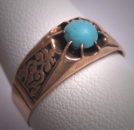 Antique Turquoise Ring Georgian Victorian Rose Gold Wedding - Georgian
