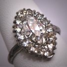 Antique Marquise Cut White Sapphire French Paste Ring Vintage Art Deco Era 1930 Wedding
