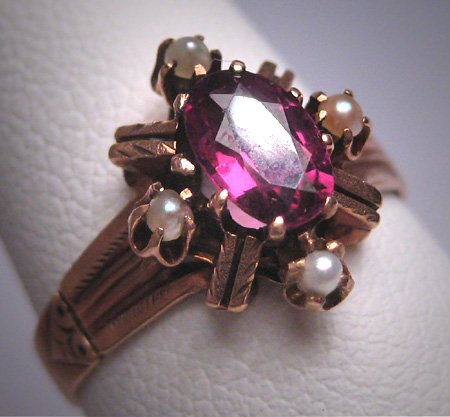 Antique Victorian Amethyst Seed Pearl Ring Wedding Rose Gold 19th Century