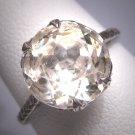 Antique Large White Sapphire Wedding Ring Vintage Art Deco 1920