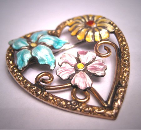 Antique Victorian Guilloche Enamel Floral Heart Pin Brooch Chased Gold Silver Wedding c.1920
