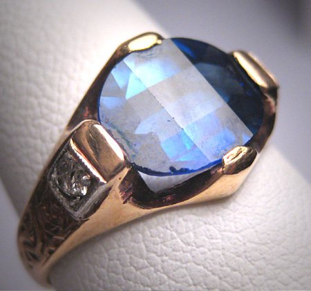 Antique Sapphire Diamond Wedding Ring Vintage Art Deco c.1920