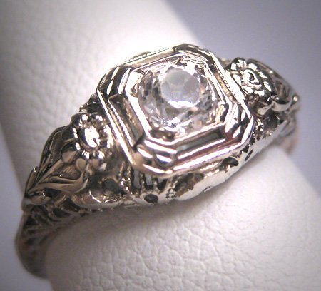 Antique White Sapphire Wedding Ring 14K Gold Filigree Floral Exceptional Setting c.1920 Engagement