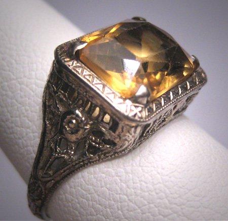 Antique Canary Golden Citrine Ring Art Deco Wedding Filigree 14K 1920s Engagement