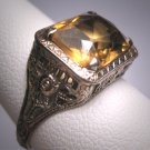 Antique Canary Golden Citrine Ring Art Deco Wedding Filigree 14K 1920s Engagement
