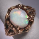 Antique Australian Opal Ring Vintage Gold Retro Deco Wedding