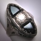 Antique White Sapphire Paste Wedding Ring Rhodium Filigree Art Deco