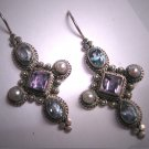 Vintage Amethyst Blue Topaz Pearl Earrings Victorian Georgian Revival Silver