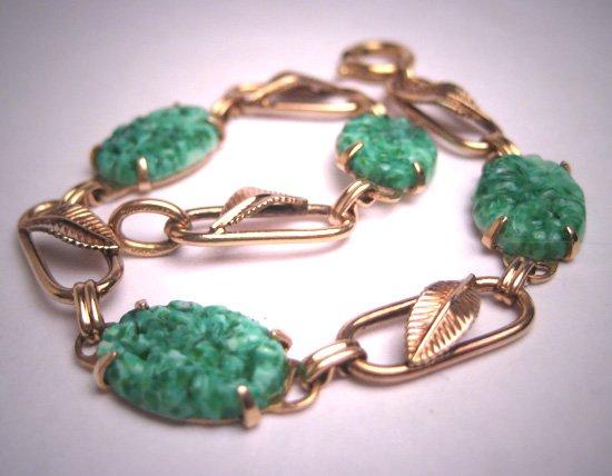 Antique Apple Green Jade Paste Bracelet Gold Vintage Art Deco 1930