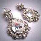 Vintage Large Dangle Drop Earrings Diamond Paste Dior Style