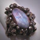 Antique Moonstone Opal Ring Vintage Retro Modernist Silver 50s Wedding