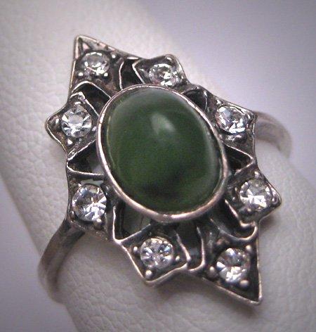 SOLD Antique Connemara Marble Jade Green Wedding Ring Vintage Art Deco Irish 1920 Estate