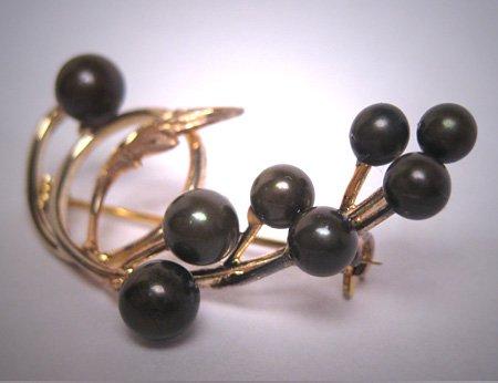 Antique Rare Black Pearl Brooch Akoya Pin 14K Gold Silver Vintage Art Deco 1950