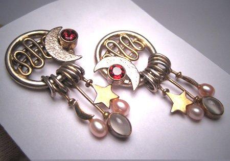 Vintage Moonstone Garnet Pearl Earrings Modernist Silver Star Moon Artisan Dream