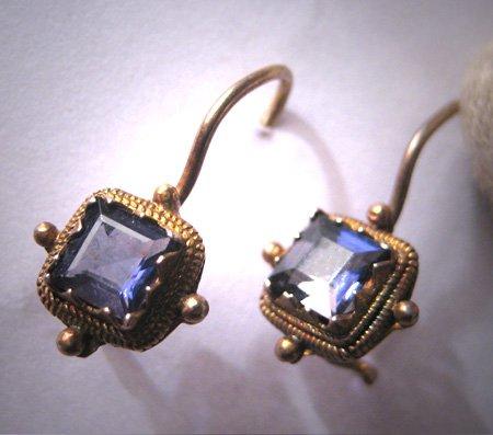 Vintage Georgian Victorian Revival Iolite Tanzanite Amethyst Violet Earrings