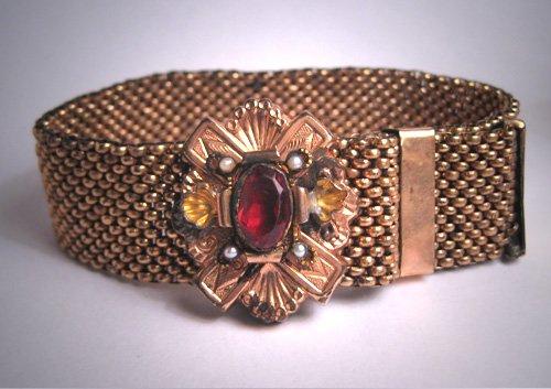 Antique Ornate Victorian Garnet Seed Pearl Slide Bracelet Gold Vintage 1800s