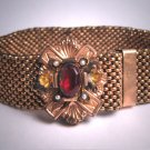Antique Ornate Victorian Garnet Seed Pearl Slide Bracelet Gold Vintage 1800s