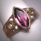 Antique Victorian Amethyst Seed Pearl Ring Band Wedding Chased Rose Gold 19th Century
