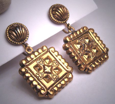 Antique Victorian Revival Gold Gilt Earrings Dangle Drop Renaissance 1930
