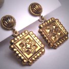 Antique Victorian Revival Gold Gilt Earrings Dangle Drop Renaissance 1930
