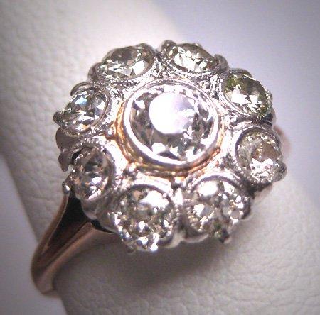 Antique Euro Diamond Wedding Ring Platinum Engagement Victorian Edwardian Vintage c.1900 1.10ctw