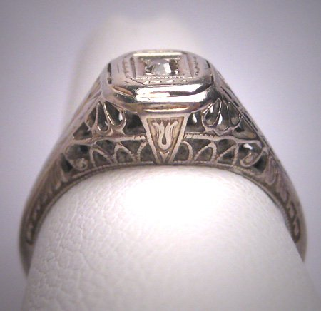Antique Old Euro Diamond Ring Vintage Art Deco 18K White Gold Wedding c.1920 - Egyptian Revival