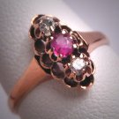 Antique Victorian Ruby Diamond Ring Rose Gold Vintage Wedding Rare 1800s