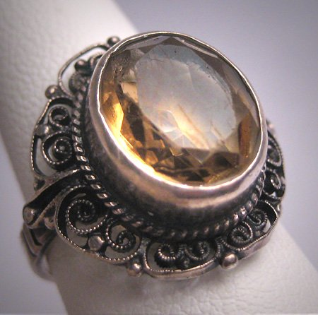 Antique Art Deco Italian Citrine Wedding Ring Vintage Filigree Engagement 1920