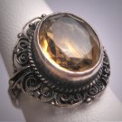 Antique Art Deco Italian Citrine Wedding Ring Vintage Filigree Engagement 1920