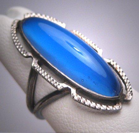 Antique Art Deco Long Blue Sapphire Wedding Ring Vintage Filigree Engagement 1920