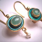 Vintage Georgian Victorian Revival Enamel Emerald Pearl Drop Earrings