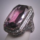 Antique Amethyst Paste Ring Wedding Vintage Art Deco Floral Filigree c1920