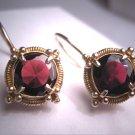 Vintage Georgian Victorian Revival Garnet Earrings