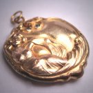 Rare Antique Art Nouveau Gold Locket Victorian Woman Floral c.1890
